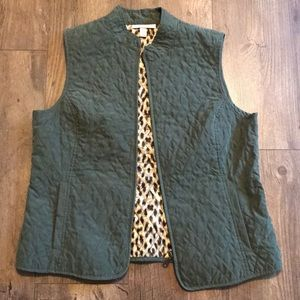 Olive colored vest with Leopard print on inside
